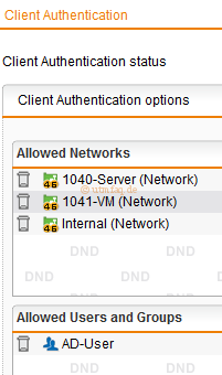 Sophos UTM Allowed Users and Groups